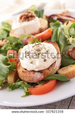 mixed salad with bread and cheese