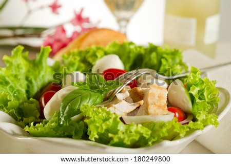 mixed salad with grilled chicken breast and cherry mozzarella - stock photo