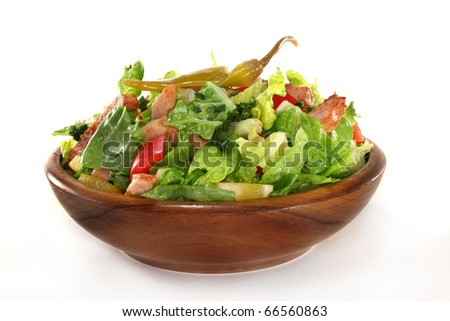 Mixed salad with turkey strips and herbs - stock photo