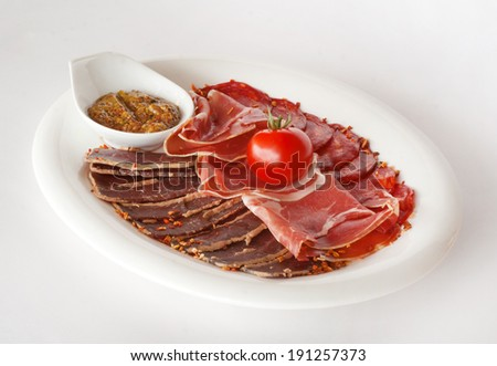 Mixed sliced meat with mustard sauce