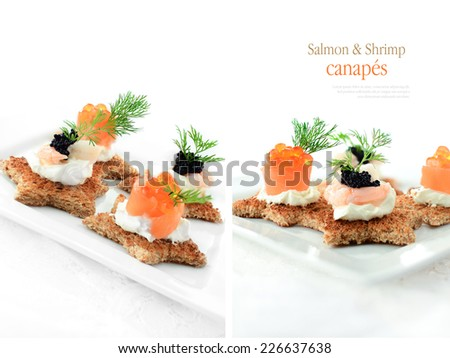Mixed smoked salmon and freshwater shrimp canapes with caviar and dill garnish against a white background. Copy space. - stock photo