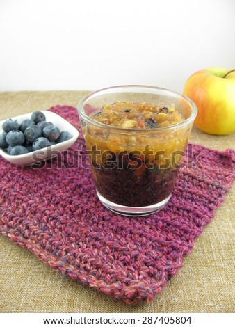 Mixed smoothie of blueberry and apple