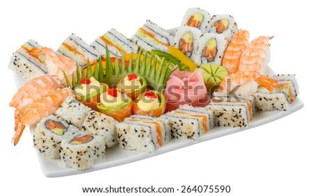 Mixed sushi platter isolated on white background - stock photo