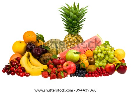 mixed tasty fruit composition set isolated on white - stock photo