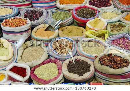 mixed traditional spices in market of cairo egypt