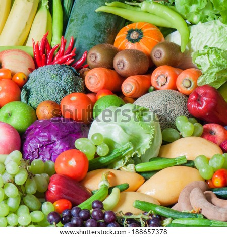 Mixed Tropical Fruits and vegetables - stock photo