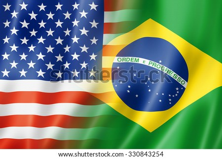 Mixed USA and Brazil flag, three dimensional render, illustration - stock photo