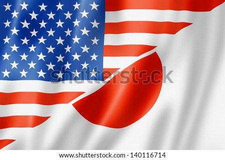 Mixed USA and Japan flag, three dimensional render, illustration - stock photo