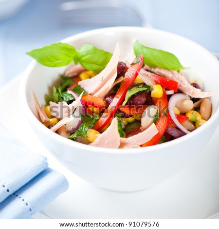 Mixed vegetable salad with tuna and fresh herbs - stock photo