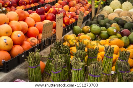 Mixed vegetables and fruit for sale at the Haymarket, Boston