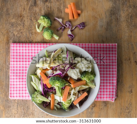 Mixed Vegetables have a carrots, broccoli, cauliflower,  Purple cabbage - clean food concept - stock photo