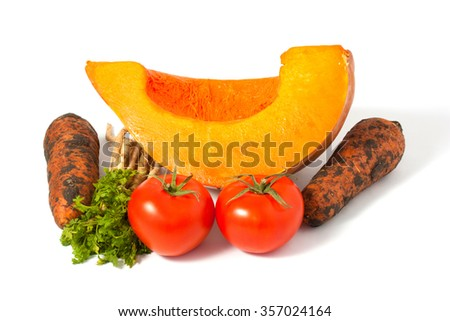 mixed vegetables isolated on white background, still life.