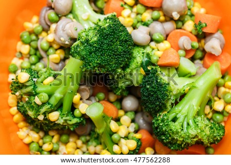 Mixed vegetables on a plate close up