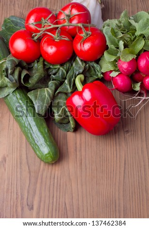 Mixed vegetables on a table - stock photo