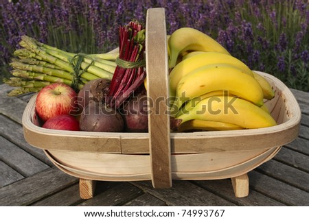 Mixed vegetables on basket