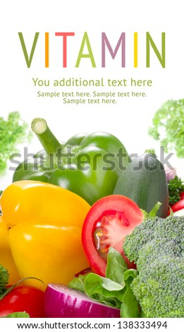 Mixed vegetables on white table top view. Organic food from farm.