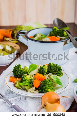 Mixed vegetables with carrots, cabbage and broccoli tasty - stock photo