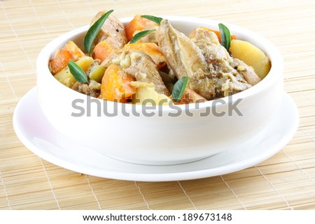 Mixed vegetables with chicken.