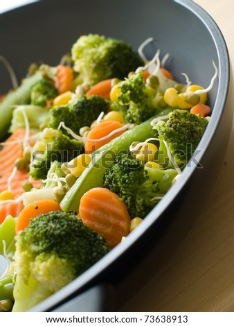 mixed  vegetables with fresh sprout in pan Selective focus