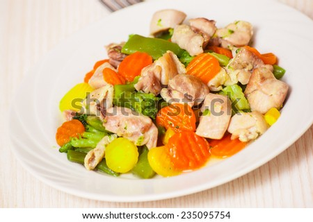 Mixed vegetables with meat - stock photo