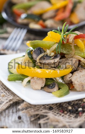 Mixed Vegetables with Meat (chicken) on vintage background