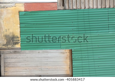 Mixed wood and metal, old wall texture, grunge background.