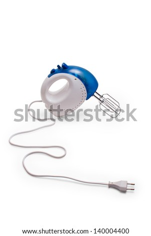 mixer  blue kitchen beater blender cooking food hand close up isolated - stock photo