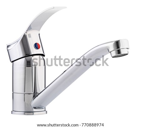 Mixer cold hot water. Modern faucet  bathroom.  Kitchen tap  . Isolated  white background. Side view.