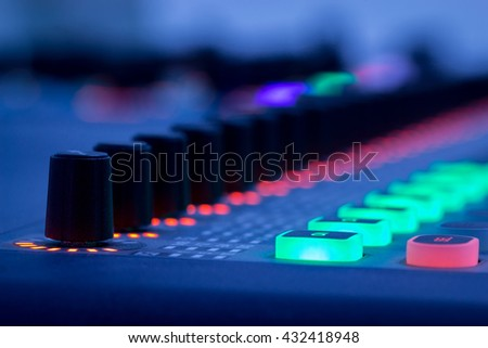 Mixer,Control of high-quality audio and equalizer volume on the mixer. - stock photo
