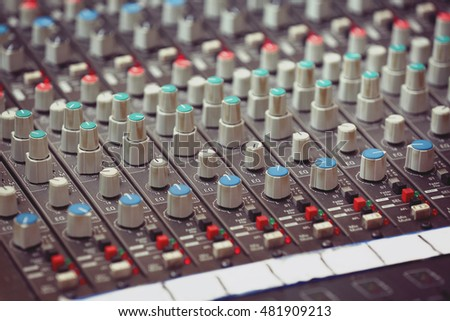 Mixer in a recording studio, close up