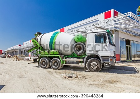Mixer truck is transport cement to the casting place on building site. - stock photo