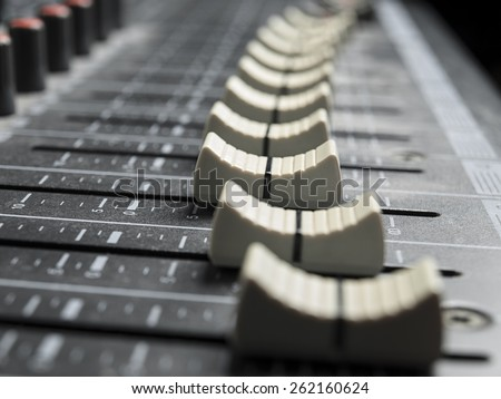Mixing board faders , for music and sound , entertainment themes - stock photo