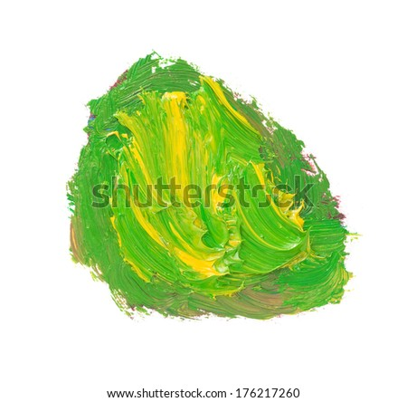 mixing color paints isolated on white background - stock photo