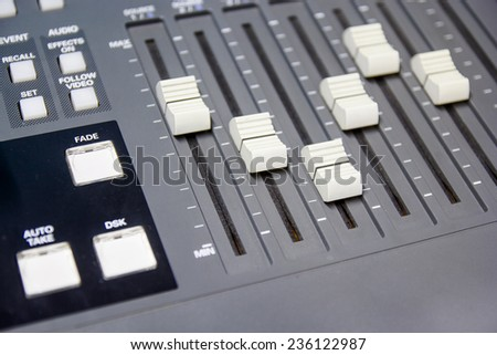 mixing console button switcher controlling broadcast
