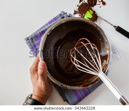Mixing Melted Chocolate With The Whisk