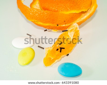 Mixing tangerine and easter sweets