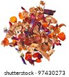 mixture herbal  floral fruit tea with petals and dry berries isolated on white background - stock photo