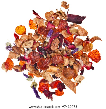 mixture herbal  floral fruit tea with petals and dry berries isolated on white background