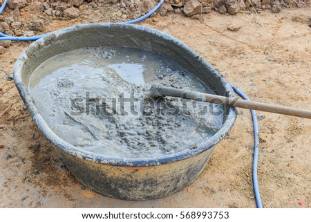 mixture of cement for construction.