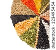 Mixture of colorful dried lentils, peas, soybeans, legumes,beans isolated on white - stock photo