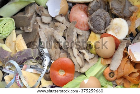 Mixture of composting materials comprising fruit and vegetable kitchen food waste with shredded newspaper on a compost heap. - stock photo
