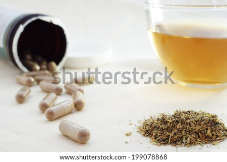 mixture of dried herbs with herbal tea and herbal pills - stock photo