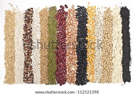 Mixture of dried lentils, peas, Grains, beans background. - stock photo