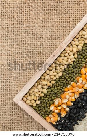 Mixture of dried lentils, peas, Grains, beans background - stock photo