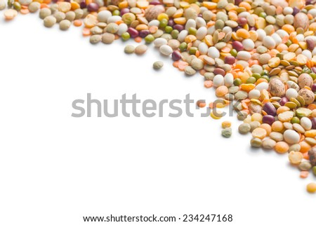 mixture of legumes on white background - stock photo
