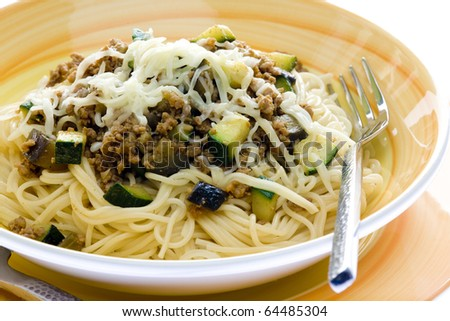 mixture of minced meat, zucchini and egg-plan