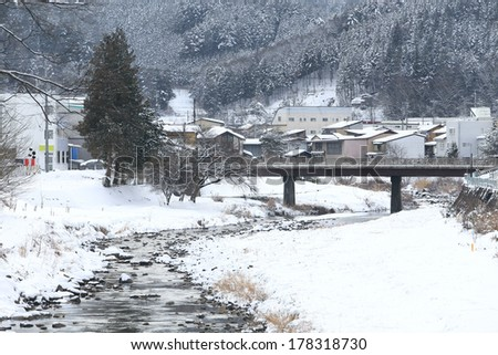 Miyagawa River Surrounded with Snow(Takayama, Japan)