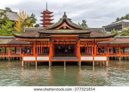 Miyajima, Hiroshima, famed floating Shrine temple  itsukushima Japan - stock photo