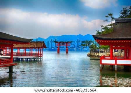 MIYAJIMA, JAPAN - MARCH 28 : Itsukushima Shrine on 28 March 2016. Miyajima, Japan. Itsukushima is one of the most important and sacred Shinto shrine in Japan. - stock photo