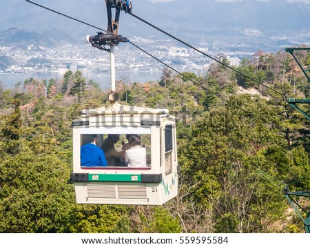 MIYAJIMA, JAPAN - MARCH 28: Ropeway on March 28, 2015 in Miyajima, Japan. The route, consisted of two lines, climbs Mount Misen of Miyajima Island. It opened in 1959.